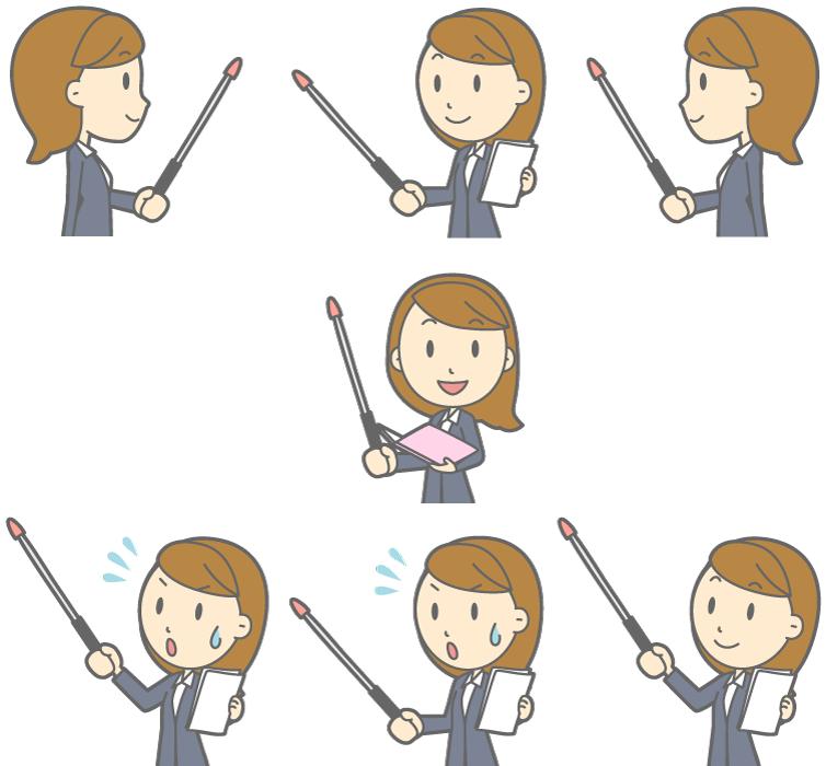 フリー イラスト指し棒を持ってプレゼンする7種類の女性社員のセット