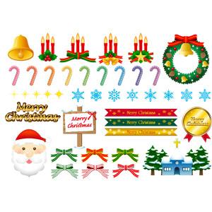 フリーイラスト, ベクター画像, AI, 年中行事, クリスマス, 12月, 冬, クリスマスベル, クリスマスリース, ろうそく(ロウソク), キャンディケイン, 雪の結晶, メリークリスマス, 帯リボン, 蝶リボン, サンタクロース, 教会(聖堂), メダル, 立て看板