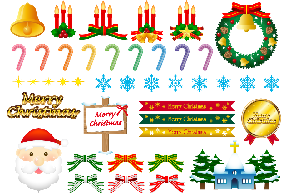 フリー イラストキャンディケインなどのクリスマスのセット
