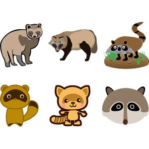 フリーイラスト, ベクター画像, EPS, 動物, 哺乳類, 狸(タヌキ)