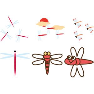 フリーイラスト, ベクター画像, EPS, 動物, 昆虫, とんぼ(トンボ), 赤とんぼ(赤トンボ), 秋, 赤色(レッド)