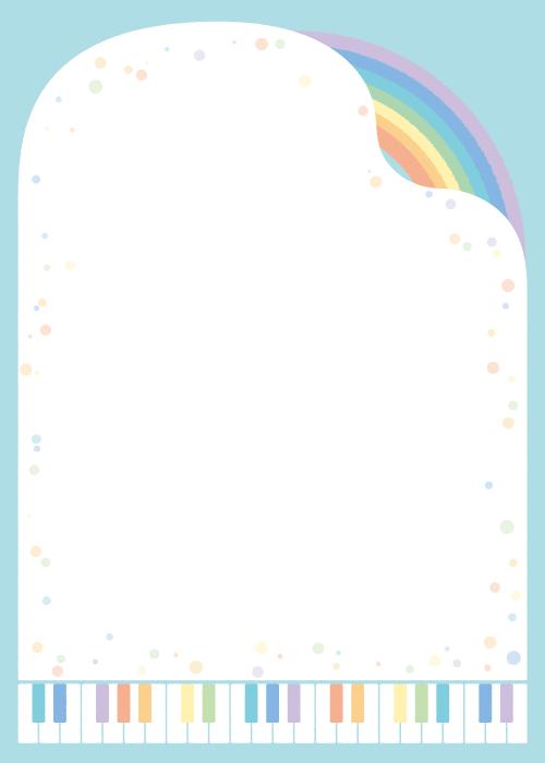 フリー イラストピアノと虹と水玉の背景
