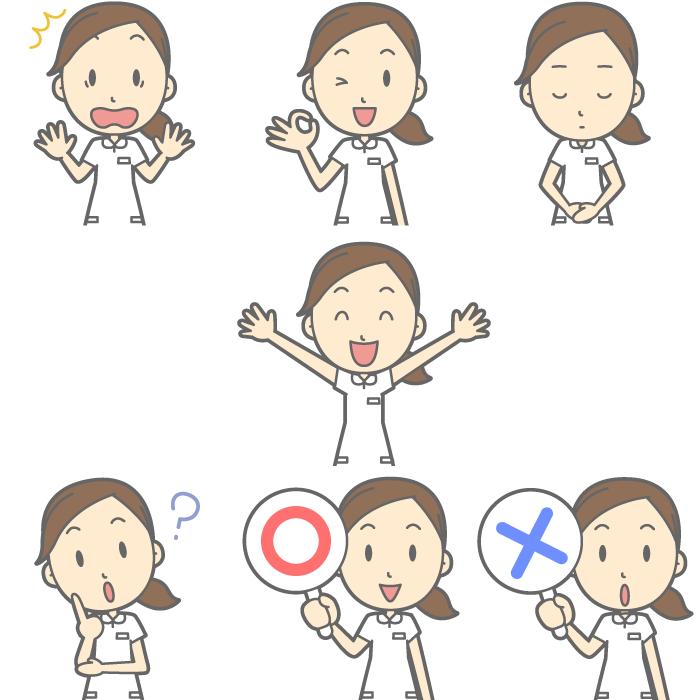 フリー イラストビックリするなどの7種類の看護婦のセット