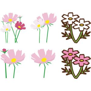 フリーイラスト, ベクター画像, EPS, 植物, 花, コスモス(秋桜), 秋