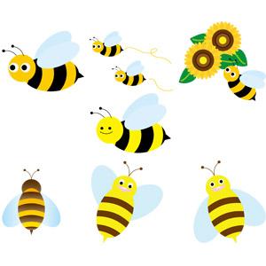 フリーイラスト, ベクター画像, EPS, 動物, 昆虫, 蜜蜂(ミツバチ)