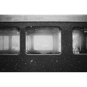 フリー写真, 乗り物, 列車(鉄道車両), 汽車, 雪, 冬, モノクロ