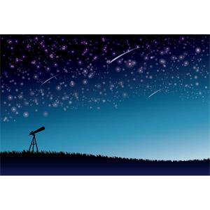 フリーイラスト, ベクター画像, AI, 夜空, 星(スター), 夜, 流れ星(流星), 天体望遠鏡, 天体観測