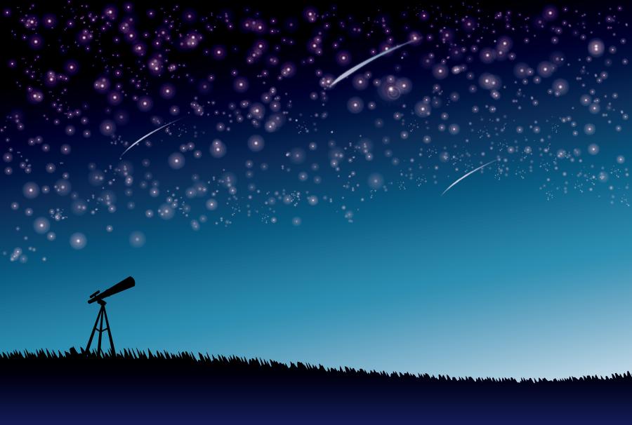フリー イラスト流星が飛ぶ星空と天体観測