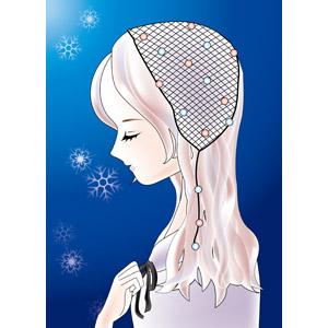 フリーイラスト, ベクター画像, AI, 人物, 女性, 横顔, 目を閉じる, 祈る(祈り), 胸に手を当てる, 雪の結晶, 冬