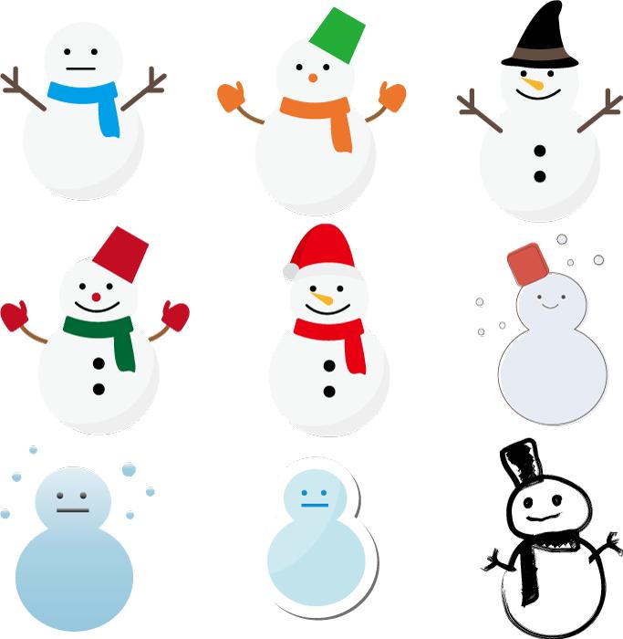フリー イラスト9種類の雪だるまのセット