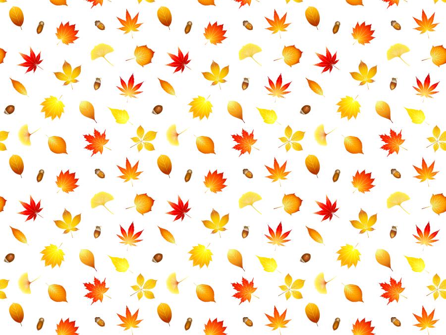 フリー イラスト紅葉した葉っぱとどんぐりの背景