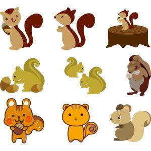 フリーイラスト, ベクター画像, EPS, 動物, 哺乳類, 栗鼠(リス), どんぐり(ドングリ)