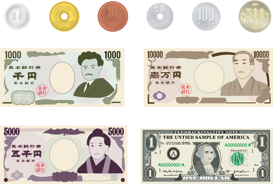 フリー イラスト日本の紙幣と硬貨のお金のセットと1ドル札