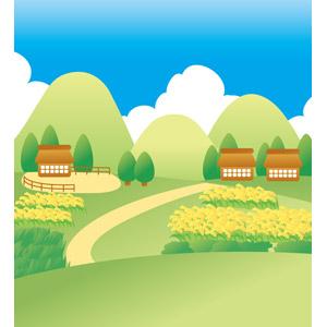フリーイラスト, ベクター画像, EPS, 風景, 村, 家(一軒家), 田舎, 稲穂, 水田(田んぼ), 稲(イネ), 作物, 茅葺き屋根, 山