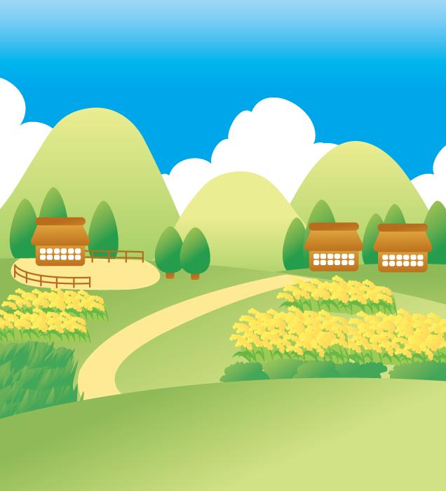 フリー イラスト稲穂の実る田園風景と村