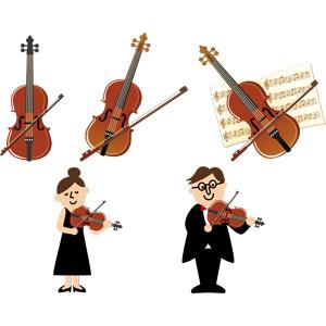 フリーイラスト, ベクター画像, EPS, 音楽, 楽器, 弦楽器, バイオリン(ヴァイオリン), 演奏する, バイオリニスト, 楽譜