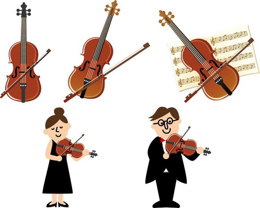 フリー イラストバイオリンとバイオリン奏者のセット