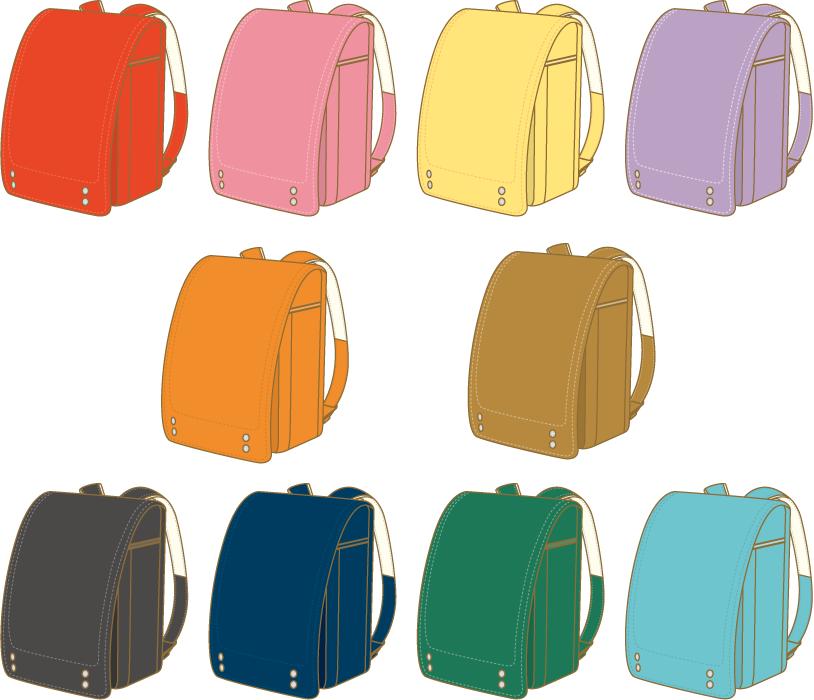 フリー イラスト10種類のランドセルのセット