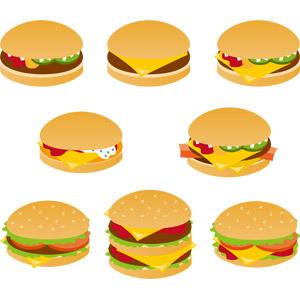 フリーイラスト, ベクター画像, EPS, 食べ物(食料), パン, ハンバーガー, ファーストフード