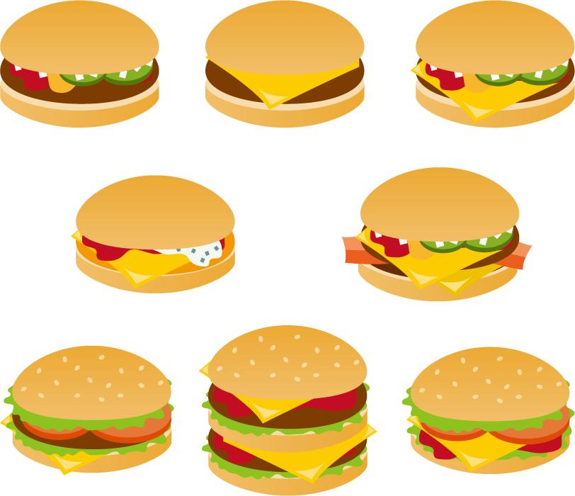 フリー イラスト8種類のハンバーガーのセット