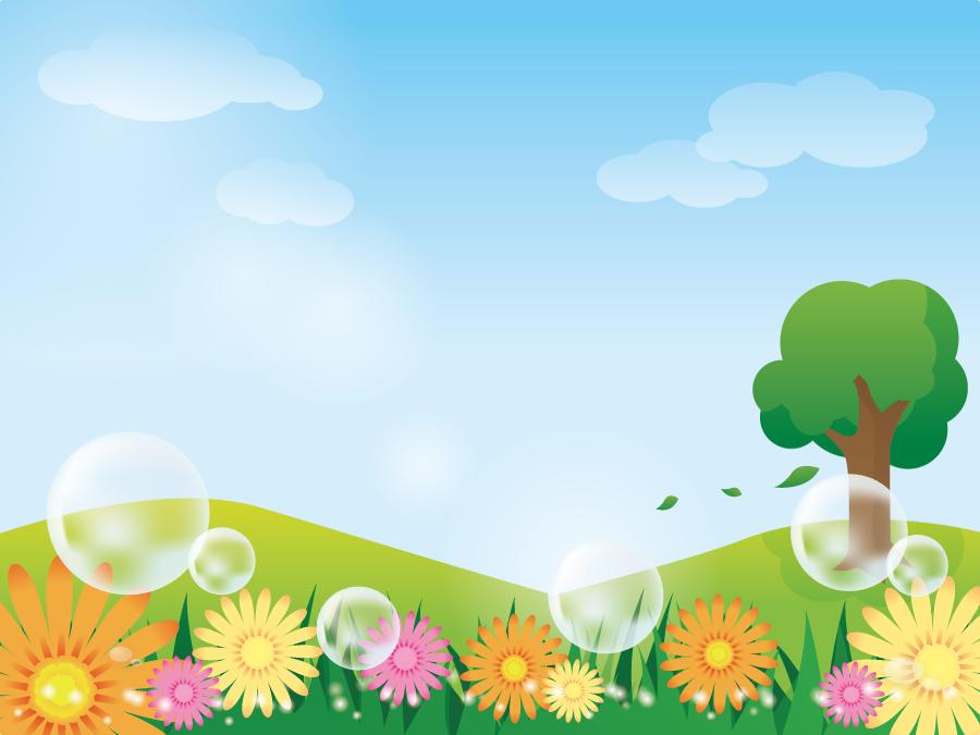 フリー イラスト青空と丘と花の咲く風景