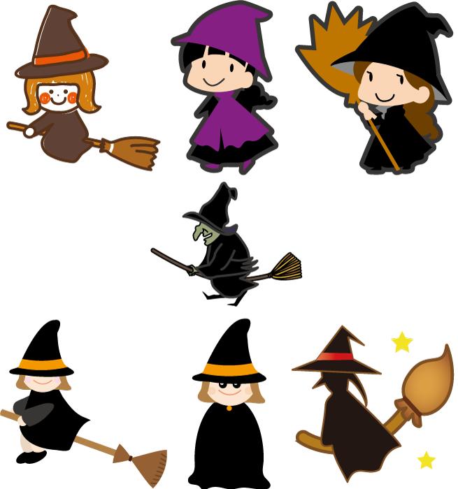 フリー イラスト7種類の魔女のセット