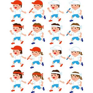 フリーイラスト, ベクター画像, EPS, 年中行事, 運動会(体育祭), 10月, 学校, 人物, 子供, 男の子, 女の子, 学生(生徒), 小学生, リレー競争, 体操服(体操着), 紅白帽, はちまき, バトン
