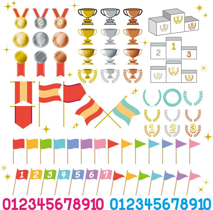 フリー イラストメダルやトロフィーや表彰台などの受賞セット