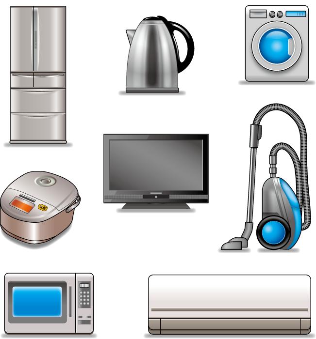 フリーイラスト] 冷蔵庫などの8種類の<b>家電機器</b>のセットでアハ体験 <b>...</b>