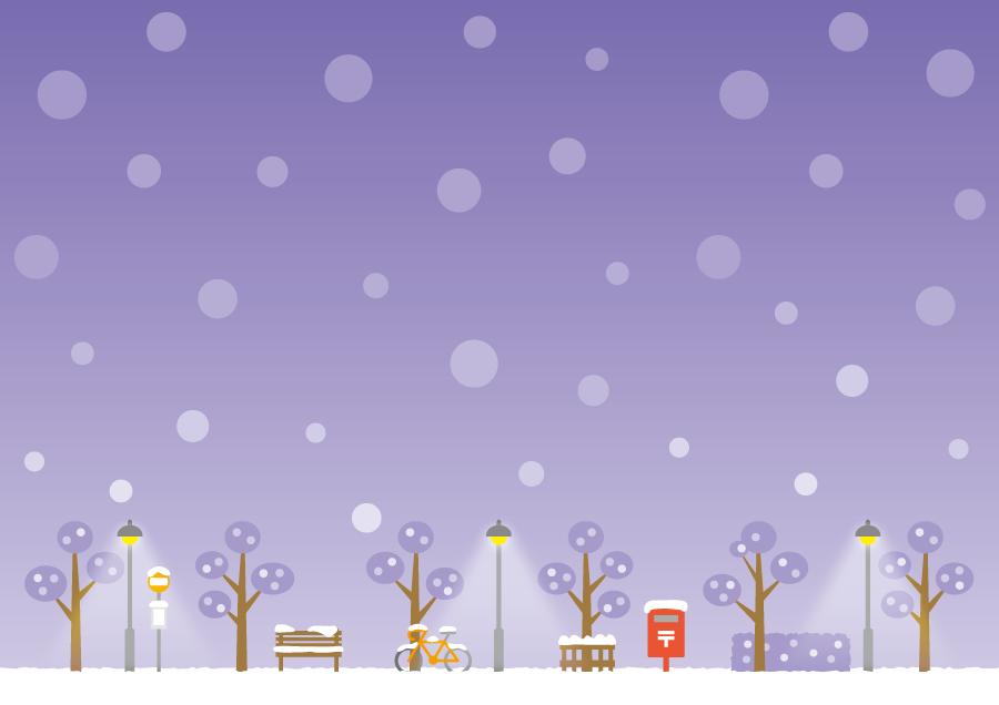 フリー イラスト雪が降る夜の街の風景