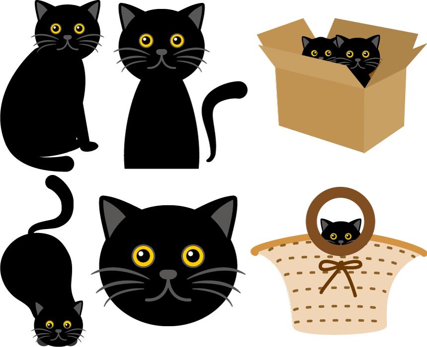 フリー イラスト6種類の黒猫のセット