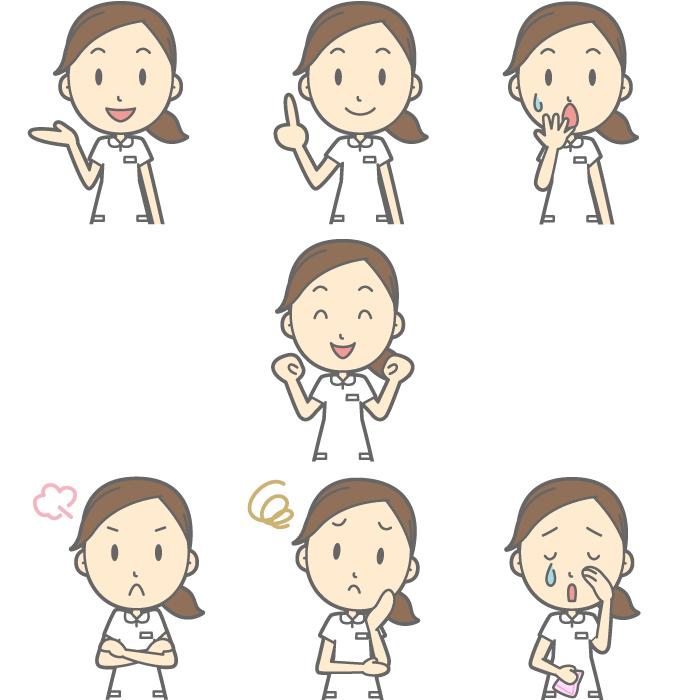 フリー イラスト案内するなどの7種類の看護婦のセット