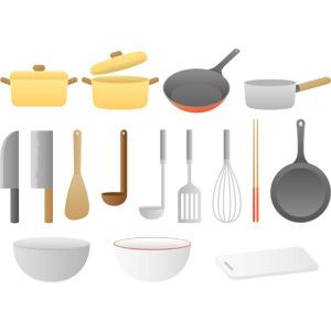 フリーイラスト, ベクター画像, AI, 調理器具, フライパン, 包丁, 木べら, お玉杓子, フライ返し, 泡だて器, 菜箸, ボウル, まな板, 両手鍋, 片手鍋, 中華包丁