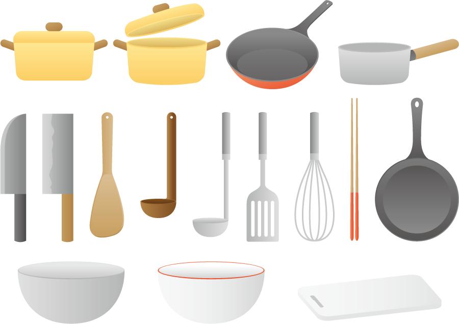 フリー イラスト16種類の調理器具のセット