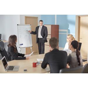 フリー写真, 人物, 集団(グループ), ビジネス, ビジネスマン, サラリーマン, ビジネスウーマン, 職業, 仕事, 会議(ミーティング), ホワイトボード, 会議室, 五人, 仲間