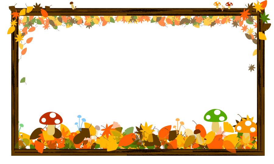 フリー イラスト落葉と茸と木枠のフレーム