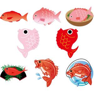 フリーイラスト, ベクター画像, EPS, 動物, 魚類, 魚(サカナ), 鯛(タイ), 食べ物(食料), 魚介料理