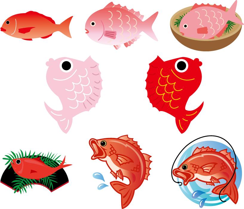 フリー イラスト8種類の鯛のセット