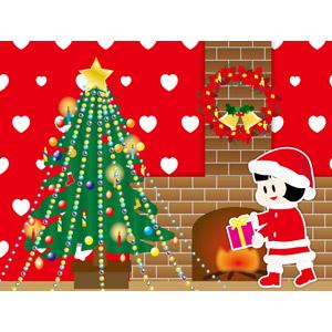 フリーイラスト, ベクター画像, AI, 背景, 年中行事, クリスマス, 12月, クリスマスツリー, クリスマスリース, クリスマスプレゼント, 子供, 女の子, 暖炉, サンタの衣装, ハート, 冬