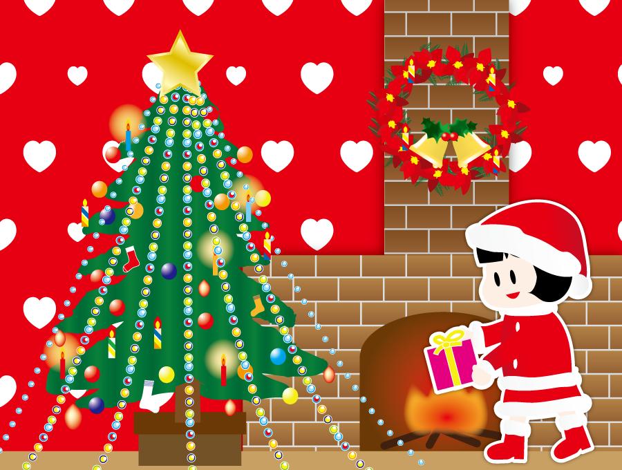 フリー イラストクリスマスツリーと暖炉とサンタの衣装を着た女の子の背景