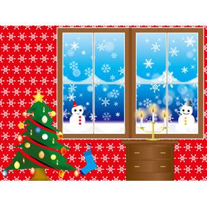 フリーイラスト, ベクター画像, AI, 背景, 年中行事, クリスマス, 12月, クリスマスツリー, 冬, 雪, 雪の結晶, 雪だるま, ろうそく(ロウソク), クリスマスソックス