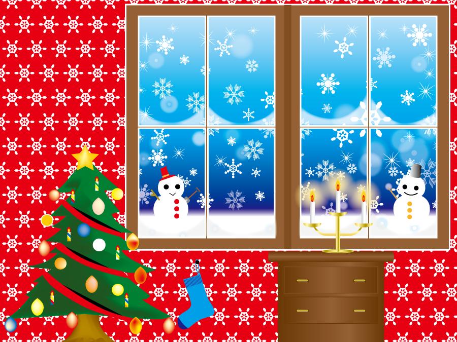フリー イラスト窓の外の雪景色とクリスマスツリー