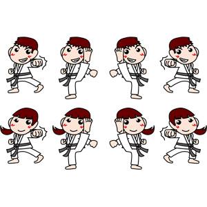 フリーイラスト, ベクター画像, EPS, スポーツ, 武道, 空手, 格闘技, 正拳突き, 殴る(パンチ), 蹴る(キック)