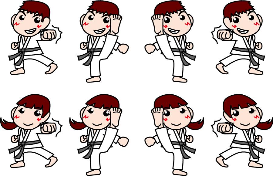 フリー イラスト空手部の男子と女子の8種類のセット