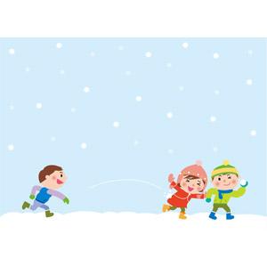 フリーイラスト, ベクター画像, EPS, 人物, 子供, 男の子, 女の子, 三人, 冬, 雪, 雪合戦, 投げる, 子供の遊び