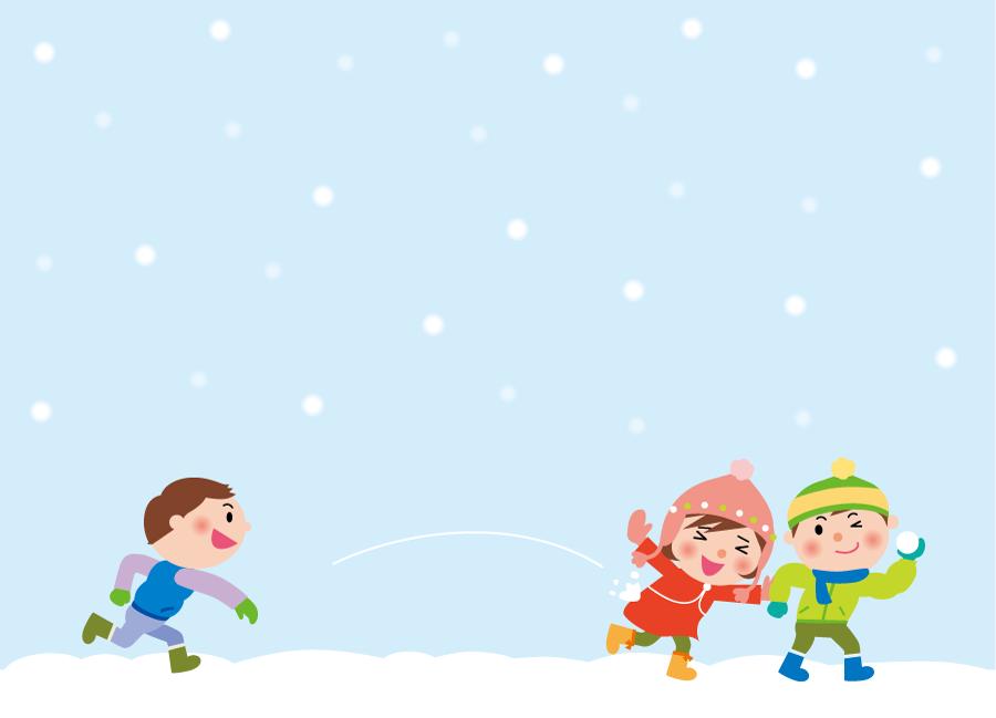フリー イラスト雪合戦する子供たち