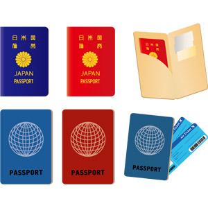 フリーイラスト, ベクター画像, EPS, パスポート, 旅行(トラベル), 海外旅行, 航空券(エアチケット)