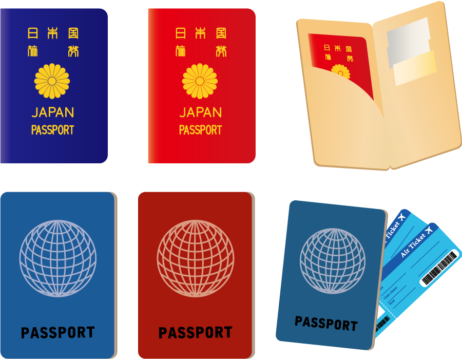フリー イラスト6種類のパスポートのセット