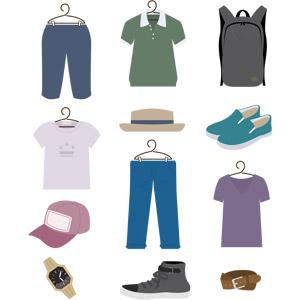 フリーイラスト, ベクター画像, EPS, 衣服(衣類), メンズファッション, ハーフパンツ, ポロシャツ, リュックサック(ナップサック), Tシャツ, カンカン帽, 帽子, 靴(シューズ), スニーカー, キャップ帽, ジーンズ(ジーパン), 腕時計, ベルト