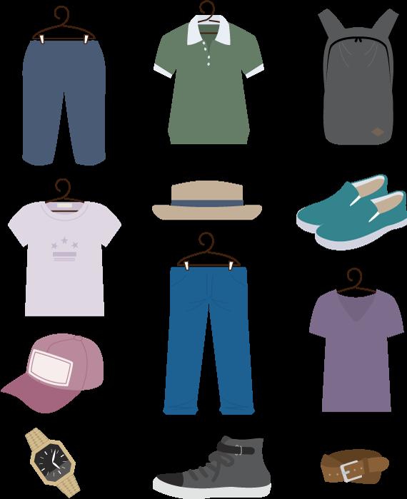 フリー イラスト12種類のメンズファッションアイテムのセット